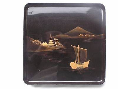 Antique Japanese lacquer tray with landscape 27 x 27 cm 1900-12 #3431C