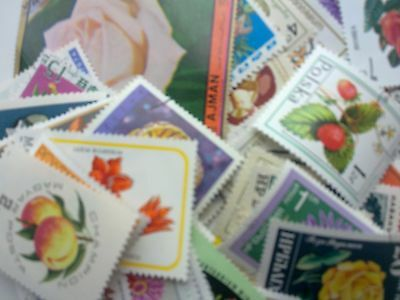 100 different worldwide stamps flowers, trees, fruits