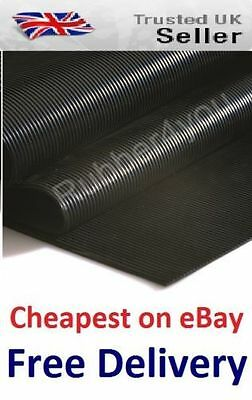 Cheapest AntiSlip FINE Ribbed Rubber Flooring Protection Matting 1.5m wide x 3mm