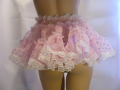 "SISSY ADULT BABY SEXY FANCY DRESS PINK ORGANZA MICRO MINI FRILLY SKIRT 11""LONG"