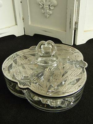 Fabulous 1940's Vintage Divided Candy Dish~Painted Silver Lid~Hollywood Regency