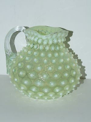 BEAUTIFUL ANTIQUE VICTORIAN HOBBS VASELINE OPALESCENT HOBNAIL PITCHER 1880S