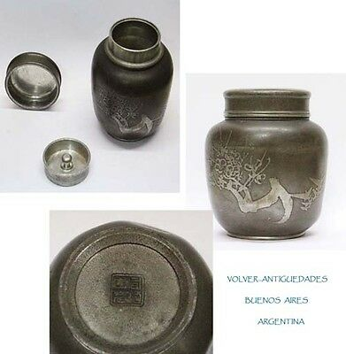 "Antique pewter ? white metal asian China / Japan travel ? tea caddy 4 "" x 3 """