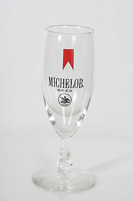 Vintage MICHELOB BEER GLASS Footed,  RED RIBBON & Logo