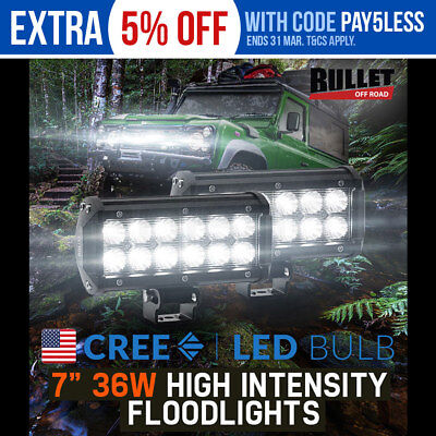LED DRIVING LIGHTS Pair 7inch BAR 36w BULLET CREE Flood Light OFF ROAD 4WD Car