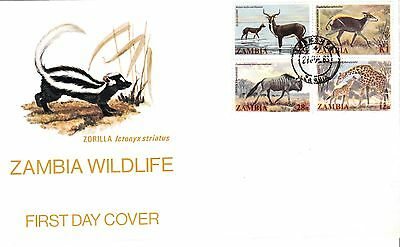 ZAMBIA 1983 WILDLIFE STAMPS Unaddressed FIRST DAY COVER Ref:327