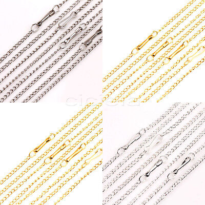 Lots 10/50Pcs Gold/Silver/White K Plated Filigree Metal Chain Necklace 2X1mm