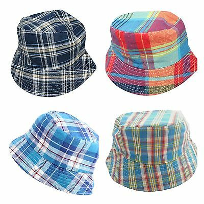 Kids Boys Children Checkered Bucket Sun Hat Age 3 4 5 6 Blue Red Colourful