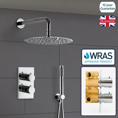2 Dial 2 Way Concealed Round Thermostatic Valve Shower Set Mixer - Wras Approved