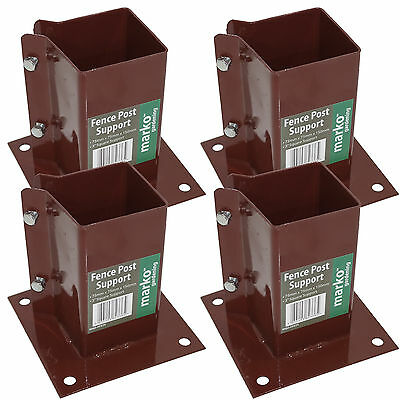 """4 x 3"""" Bolt Down Bolt Grip Fence Supports - 75MM Post Timber Holder Like Metpost"""
