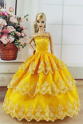 Yellow Fashion Princess Party Dress/Evening Clothes/Gown For Barbie Doll S215P