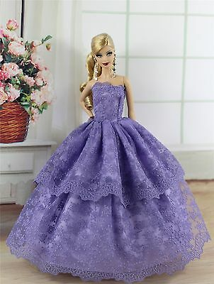 Violet Fashion Princess Party Dress/Evening Clothes/Gown For Barbie Doll S214P