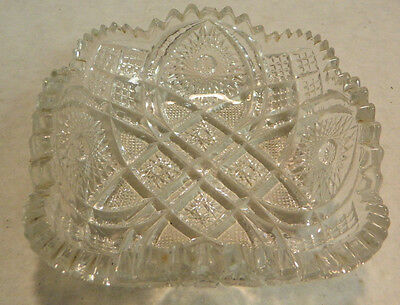 """Vintage Square Diamond Pattern Glass Candy Dish 6"""" x  6"""" x 2"""" Excellent Cond"""