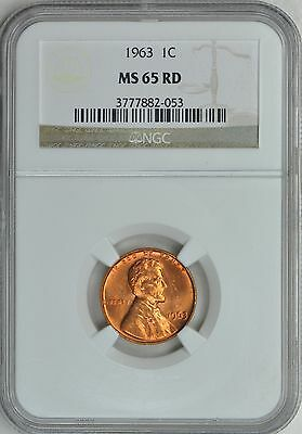 1963 LINCOLN MEMORIAL CENT 1c NGC MS65RD