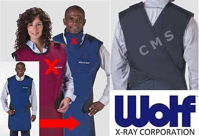 WOLF X-Ray Easy-Wrap 0.5mm Lead Coat Apron 24x42 LARGE NAVY BLUE W/ Out Collar