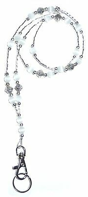 SUPER Slim White Fashion Women's Beaded Lanyard breakaway magnetic clasp 34 inch