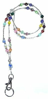 SUPER Slim Multi Fashion Women's Beaded Lanyard breakaway magnetic clasp 34 inch