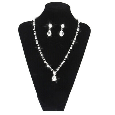 Wedding Party Prom Jewelry Bridal Necklace Earrings Set Bling Rhinestone