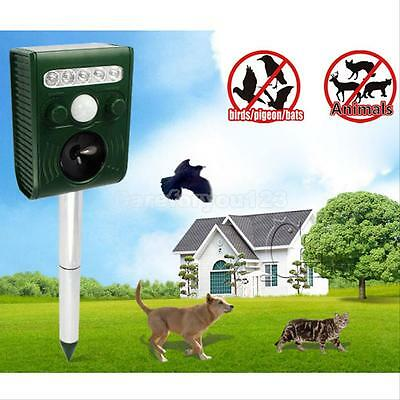 Ultrasonic Solar Powered Insect Animal Repeller PIR Dogs Cat Scarer Repellent