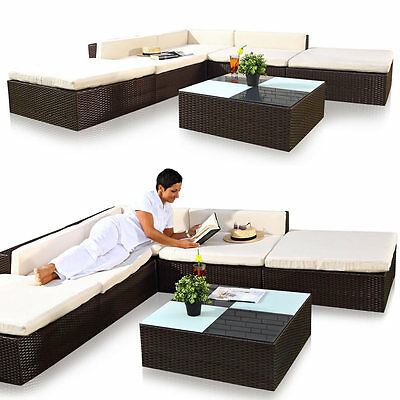xxl lounge garnitur polyrattan terassen sitzgruppe liegesofa rattanm bel eur 460 00 picclick de. Black Bedroom Furniture Sets. Home Design Ideas
