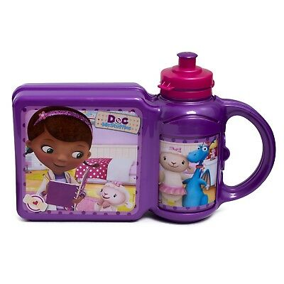 Doc Mcstuffins Sandwich Lunch Snack Box And Water Drinking Bottle Combo Set New