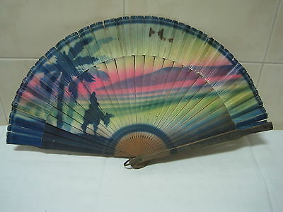 Antique fan in wood and paper Hand painted tropical landscape