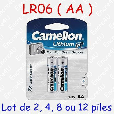 Pile Photo Lithium AA LR6 FR6 LR06 R6 R06 FR06 L91 1,5V : lot de 2, 4, 8 ou 12