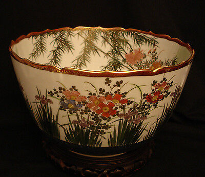 "12 3/4"" MARKED Kutani JAPANESE TAISHO PERIOD SATSUMA DEEP BOWL  W/  WOODEN STAND"