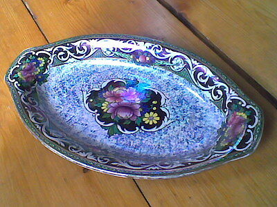 Vintage Art Deco Newhall Boumier Lustre Oval Dish - fully stamped with signature