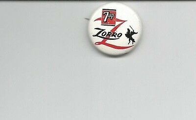 Licensed 1957 7up Zorro Button Pinback Free Shipping !