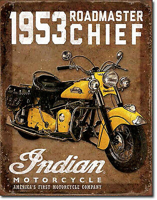 """"""" Indian Motorcycle""""1953 Roadmaster Chief, Tin Sign for the Man Cave/Garage"""