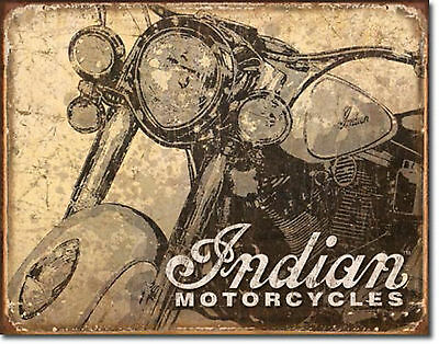 """"""" Indian Motorcycles""""  Antiqued, Vintage, Metal Tin Sign for the Man Cave/Garage"""