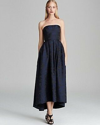 ML Monique Lhuillier Blue Strapless Pleated High Low Gown Black Print Dress NWT