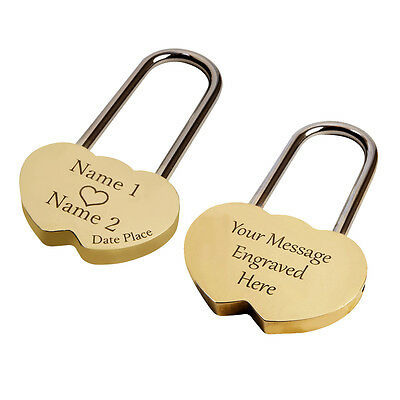 Gold Engraved Personalised Heart Shaped Padlock Solid Love Lock Anniversary Gift