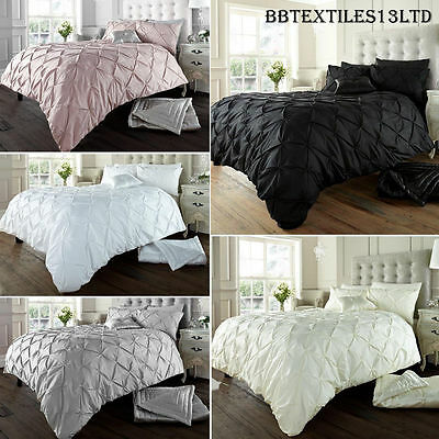 Diamond Pintuck Duvet Cover Set With Pillow Cases, Luxury Bed Linen Quilt Sets