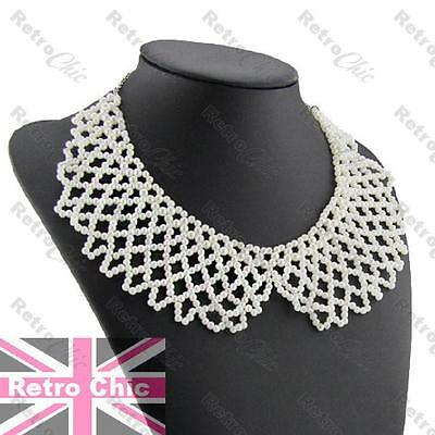 VINTAGE antique style PEARL COLLAR choker BIG BEADED NECKLACE silver tone chain