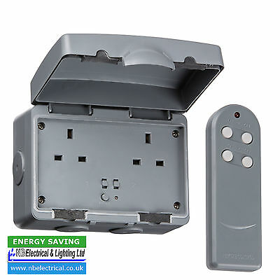 Ip9000R Outdoor Remote Controlled Wireless Electric Plug Socket 13A 2Gang