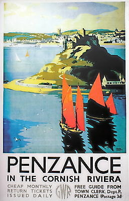 PENZANCE...CORNWALL...  Vintage GWR Railway Poster 2 A1,A2,A3,A4 Sizes