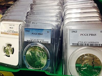 Lot of 1: Graded US Coin Collection PCGS NGC SLAB Silver, Dollars, Halves-Cents