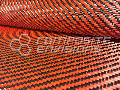 "Carbon Fiber/Orange Kevlar Cloth Fabric 2x2 Twill 50"" 3k 5.5oz"