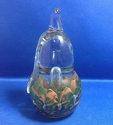 """JOE ST. CLAIR STUDIO ART GLASS PAPERWEIGHT, PEAR, PLACED BUBBLES, SIGNED, 6""""TALL"""
