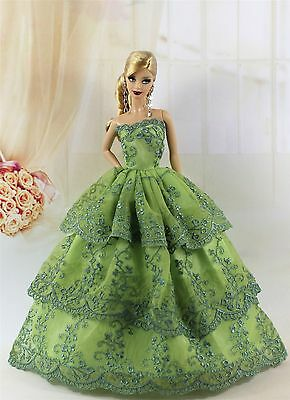 Green Fashion Princess Party Dress/Evening Clothes/Gown For Barbie Doll S201P7