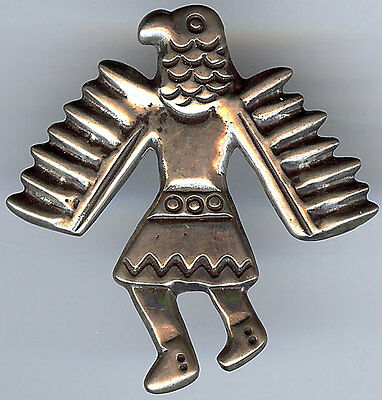 Vintage American Indian Silver Kachina Eagle Dancer Pin Brooch