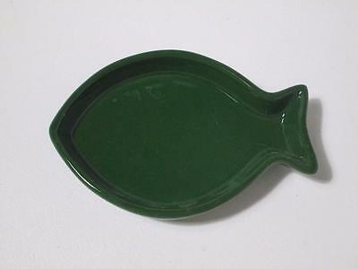 Cat kitten  fish shape ceramic food or water bowl dish med 15 x 12cm GREEN