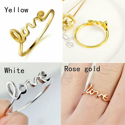 NEW Promise Genuine Silver Love Cursive Script Writing Text Word Band Ring