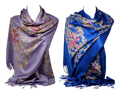Beautiful Embroidered Pashmina Feel Wrap Scarf Scarves Stole Shawl Hijab