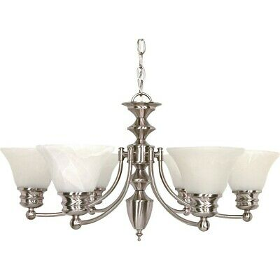"Nuvo Empire 6 Light 26"" Chandelier w/ Glass Bell Shades - 60-356"