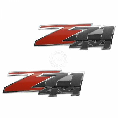 OEM Z71 4X4 Nameplate Emblem Body Side Chrome & Red Pair Set of 2 for GM SUV New