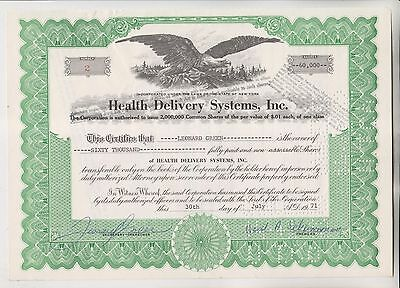 1971 HEALTH DELIVERY SYSTEMS INC STOCK CERTIFICATE  - NEW YORK