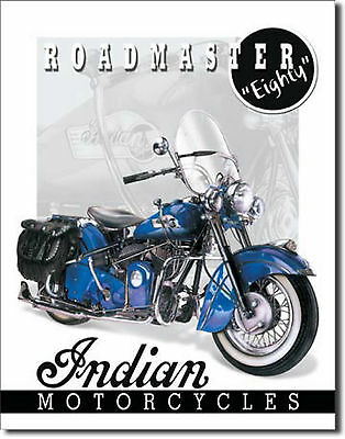 """""""Roadmaster (Eighty) Indian Motorcycles"""" Metal Tin Sign for the Man Cave/Garage"""